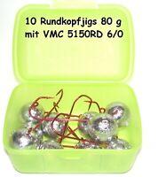 Rundkopfjig 80 g - VMC 6/0 - 10 Stück in praktischer Box - Jigkopf - Jig Head