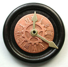 Hand Crafted Brass & Copper Clock Button Mechanical Hands Move  set in Wood!