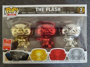 Funko Pop: Justice League - The Flash (Chrome 3 Pack) SDCC 2018 Exclusive