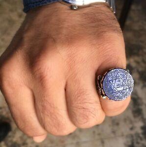 Seal of Solomon Ring Handmade Lapis Lazuli Sterling Silver Unique Talisman
