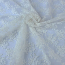 Vintage Flower Lacework Embroidered Organza Lace Fabric Dressing BY YARD