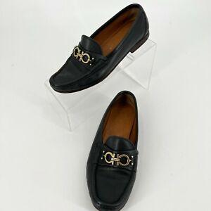 Salvatore Ferragamo Gancini Buckle Navy Black Loafers Size 6C WIDE