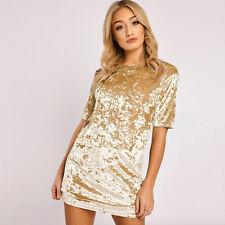Womens Short Sleeve Velvet Mini Dress Fashion Shift Dress Pullover Long Tops