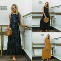 Fashion Women Boho Long Maxi Dress Polka Dot Summer Party Evening Beach Sundress