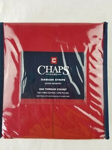 Chaps Home Damask Stripe Queen Bedskirt 500tc 100% Pima Cotton RED New