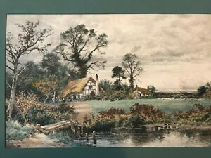 """A Hand Colored Engraving by  Benjamin Wm. Leader """"Gleam Before the Storm- 1901"""