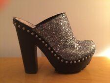 New Miu Miu Prada Grey Metallic Glitter Platform Studded Clogs Shoes Mules 39