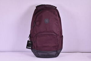 Hurley Surge Solid Backpack w/ Centered Logo, Mahogany Red & Black