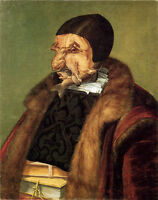 """Huge Oil Giuseppe Arcimboldo - The Jurist with food fish chicken no reserve 36"""""""