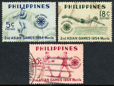 Philippines 610-612, Used. 2nd Asian Games.Emblem,Swimmer,Boxers, 1954