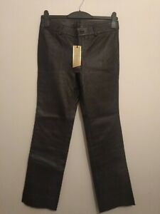 BNWT M&S Luxury Real Leather Black Trousers Size 10 RRP £125 *Missing Button*