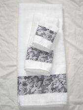 Bath Hand Towel Wash Cloth Halloween Grey Ghost Camouflage Camo 3 Piece Set