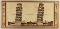 Italia La Torre Di Pisa c1865 Foto Giorgio Sommer Stereo Vintage Albumina