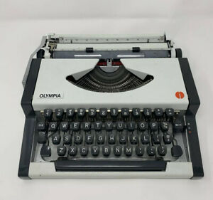 White Olympia Traveller Portable Typewriter With Case - Rare Font!