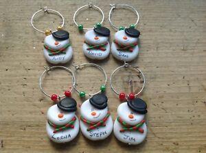 6 Wine Glass Charms Snowman Christmas Personalised Xmas Dinner Handmade Table