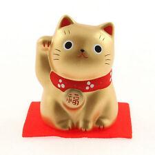 "Japanese 2-1/4""H Gold Ceramic Maneki Neko Lucky Cat PROSPERITY Figurine Japan"
