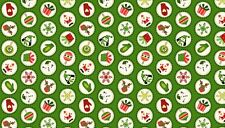 """Christmas Mini Novelty Disc Green Cotton fabric Size 22 """"x 18"""" larger available"""