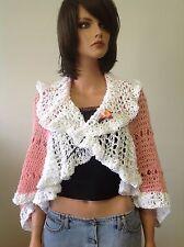 Hand Knit Shrug Sweater Shawl Bolero Rose Pink White Lace Designer Fashion Chic
