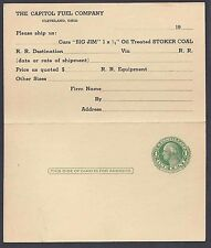 Ca 1931 CAPITOL FUEL  ORDER FOR BIG JIM OIL TREATED COAL UNPOSTED, CLEVELAND OH