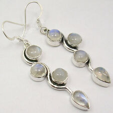 """Gem Lovely Long Earrings 2"""" New 925 Pure Silver Cabochon Rainbow Moonstone 4"""