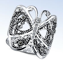 UNWRITTEN Silver-Tone Marcasite & Crystal  Accent BUTTERFLY RING - Size 8