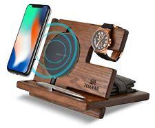 Wood Phone Docking Station Ash Wireless Charger Wallet Watch Holder Organizer