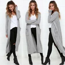 womens chunky cable knit maxi boyfriend cardigan