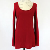 SofiaCashmere 2-Ply 100% Cashmere Knit Soft Warm Red Scoop Neck Sweater L