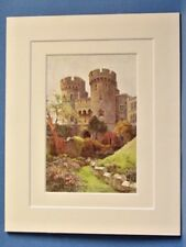 ROYAL WINDSOR CASTLE NORMAN GATE VINTAGE DOUBLE MOUNTED WATER COLOUR PRINT 10X8