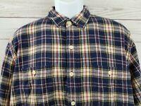 J.CREW Mens Flannel Button Front Shirt Blue Yellow Plaid Long Sleeve Cotton XL