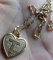collier chaine pendentif bijou vintage cœur couleur or rétro monogramme T *4183