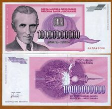 Yugoslavia 10,000,000,000 (10000000000) Dinara 1993 P-127 AA-Prefix UNC > Tesla