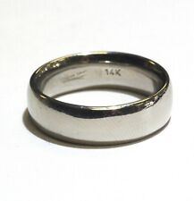 14k white gold 6mm mens wedding band ring 7.2g gents comfort fit vintage estate