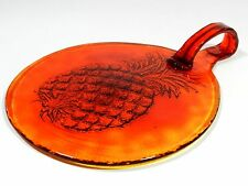 Pineapple Plate Platter Amberina Glass