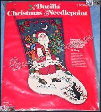 Vtg Bucilla SANTA & Bunny Stocking Painted Needlepoint Christmas Kit - 60391