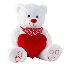 XXL Teddybär Weiss mit Herz und Halstuch in Rot ca 100 cm Kuscheltier Plüschtier