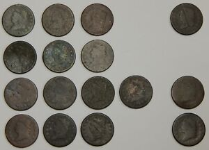 1808-1814 - Classic Head Large Cents With Dates - Low Grade / Culls - Lot of 16