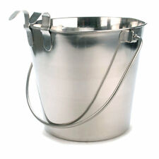 800106 Stainless Steel 1 Quart Flat Sided Food Water Bucket Pail Dog Kennel Farm