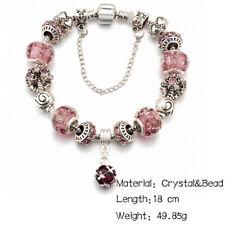 (bei Nacht leuchtendes) lila Kristall Charm Armband mit 925 Silber Anhängern