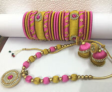 Bollywood fashion silky thready necklace jhumki earring bangles 2-12