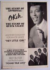MAJOR LANCE BILLY BUTLER 1963 Poster Ad HEY LITTLE GIRL found true love