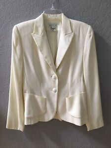 Ann Taylor Jacket Blazer Ivory Cream Fully Lined Slim Made in USA Size 4