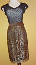 NWOT ESCADA Margaretha Ley Brown Gold Metallic Paisley Lace Skirt size 40 (6-8)
