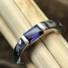 Genuine 1ct Iolite {Water Sapphire} 925 Solid Sterling Silver Emerald Cut Ring 7