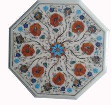 "12"" carnelian Stone White Marble Coffee side Table Top Inlay Art Design"