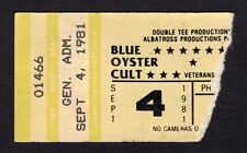 1981 Blue Oyster Cult Foghat concert ticket stub Phoenix Fire Of Unknown Origin