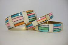 Brass Shell Set of 3 Pastel Bangles