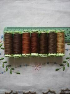 Guttermann thread set job lot BROWN AUTUMN COLOURS polyester