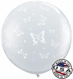 "3ft HUGE 36"" Butterflies on Clear QUALATEX Balloon Latex Balloon Decoration"