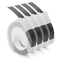 4 Rolls Compatible DYMO 3/8'' Embossing Label Maker Tape 520109 White on Black
